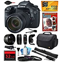 """Canon EOS 7D 18 MP CMOS Digital SLR Camera with 18-135mm f/3.5-5.6 IS UD Lens includes 32GB Memory + 2.2x Telephoto + 0.43x Wide Angle Lens + Hood + UV-CPL-FL Filters + 67"""" Monopod + Photography Guide"""