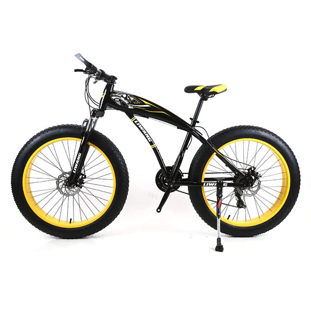 negroamarillo Bicicleta de montaña para Hombre 7 21 24 27 Velocidades, 26 Pulgadas Bicicleta de Carretera Fat Tire Pedales de Bicicleta de Nieve con Frenos de Disco y Horquilla de suspensión,negroazul,24Speed 21Speed