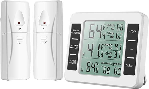 Wireless Digital Kühlschrankthermometer Kühlschrank Thermome Alarm mit 2x Sensor