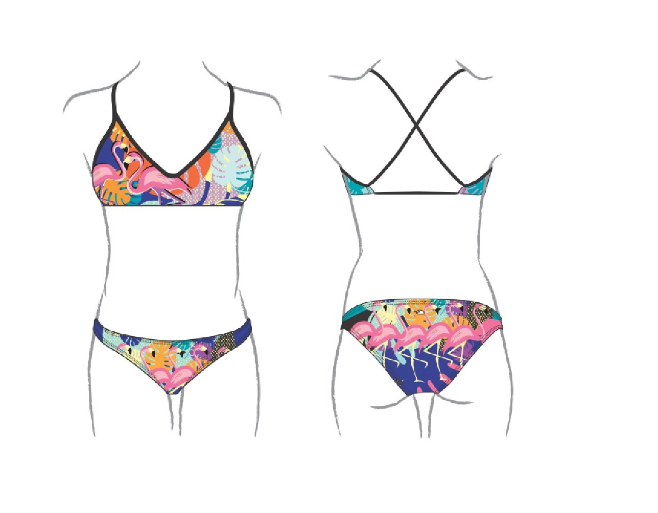 Turbo Bikini Flamingo swimkini Sport nadar - Mix + Match Bikini, morado, 38: Amazon.es: Deportes y aire libre