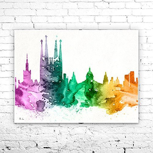 Barcelona 2 Spain City Skyline, Art Print, poster, Barcelona poster, Athens watercolor, watercolor poster, map poster, City watercolor