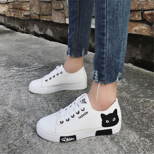 Shoes 2018 Summer Canvas Women New Shoes Lace White Board White Up Flat Student Cartoon EqII7Y