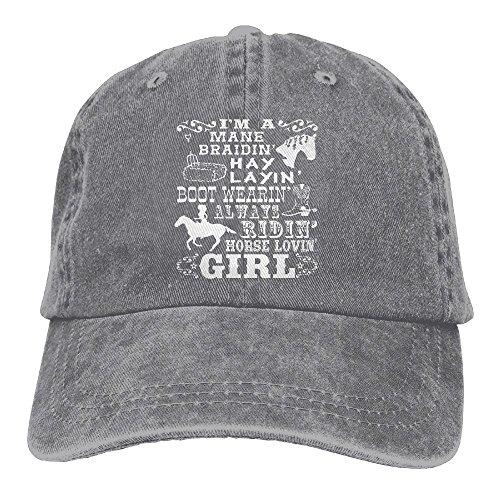 Vbfgtg Horse Loving Girl Horseback Riding Poem Adult Washed Retro Denim Hats Adjustable Baseball Cap Dad Hat