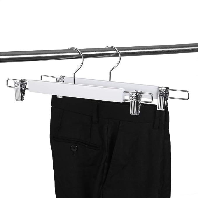 Perchas para pantalones de bamb/ú Gancho de cromo 360/° Juego de 12 Perchas para faldas de madera Pantalones sin arrugas Almacenamiento de ropa antideslizante M/&W