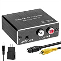 Digital-to-Analog Audio Converter 192Khz, ROOFULL DAC Digital Coaxial and Optical (Toslink) to Analog 3.5mm AUX and RCA…