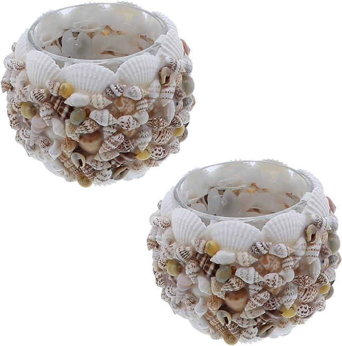 LiShay Oyster Shell Pillar Candle Holder Seashell Flower Votive-Brown