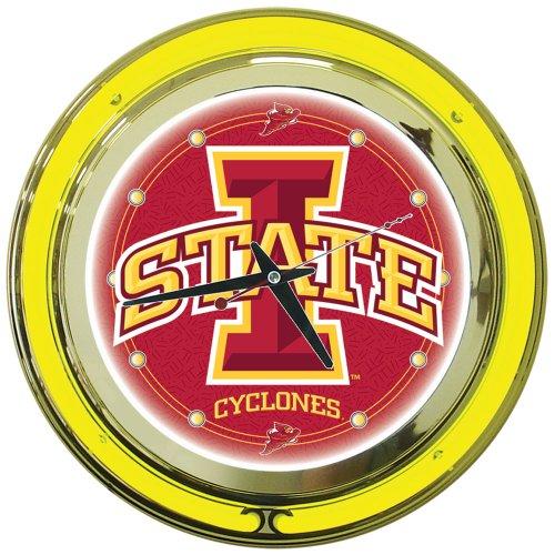 Iowa State Desk (NCAA Iowa State University Chrome Double Ring Neon Clock, 14