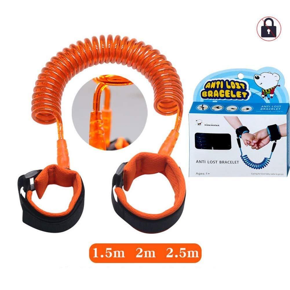 Children's Anti-Lost Rope Baby Outdoor Bracelet Anti-Lost Belt (1.5m, 2m, 2.5m) (Color : Orange, Size : 2.5m)