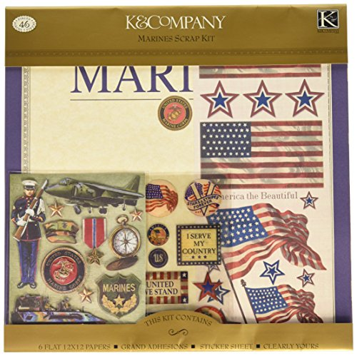 K&Company Military Scrapbook Kit 12-by-120-Inch Layouts,