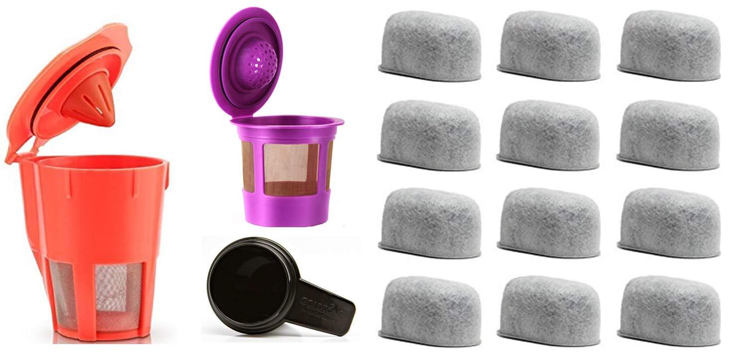 GoldTone Brand Value Bundle for Keurig Coffee Maker Machines - Includes (12) Water Filters, (1) Reusable Single Serve Filter, (1) Reusable Carafe Filter, (1) Coffee Scoop