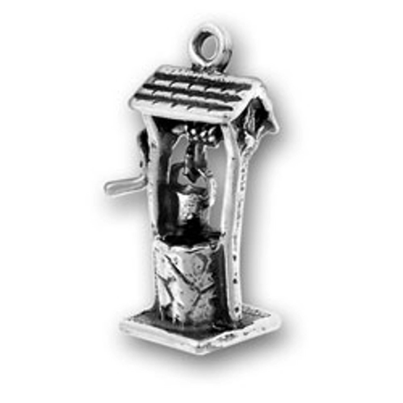 Sterling Silver Girls .8mm Box Chain 3D Old Fashion Wishing Well Water Bucket Pendant Necklace