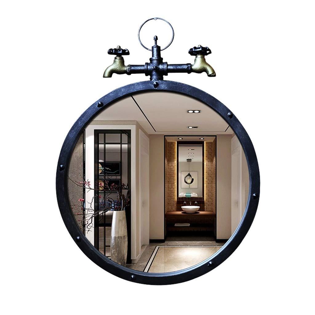DNSJB Badezimmer-hängender Eitelkeits-Spiegel, Retro Schmiedeeisen-hängender Spiegel - Hahn-Kunst-hängender Spiegel, runder Spiegel, Wohnzimmer-an der Wand befestigter Spiegel - 64 * 50cm