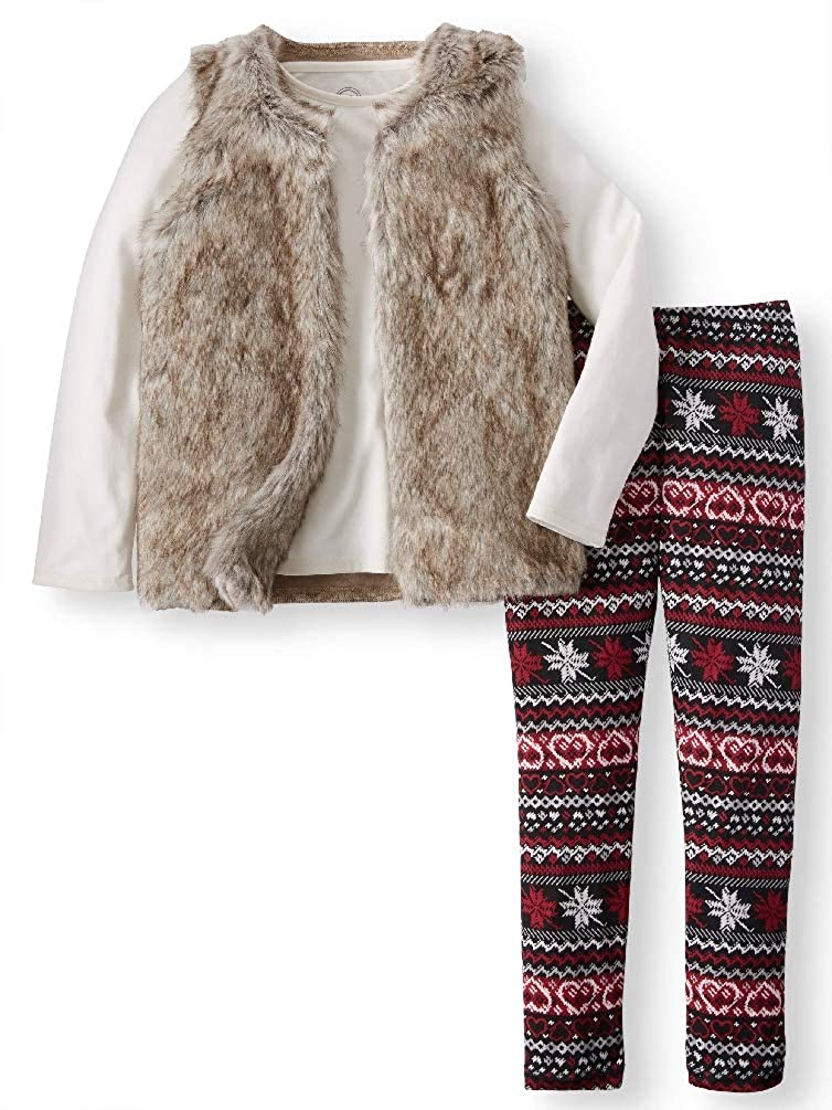 Faux Fur Vest 3-Piece Outfit Set Little Girls /& Big Girls and Legging Long Sleeve Tee