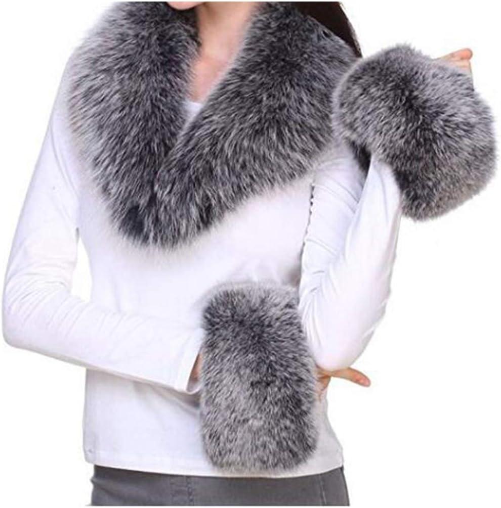 Real Fox Fur Collars Cuff For Coat Scarves Warm Genuine Winter Scarf Hat Amp Glove Sets,Creamy-White,Scarf 90 Cuff 30 13