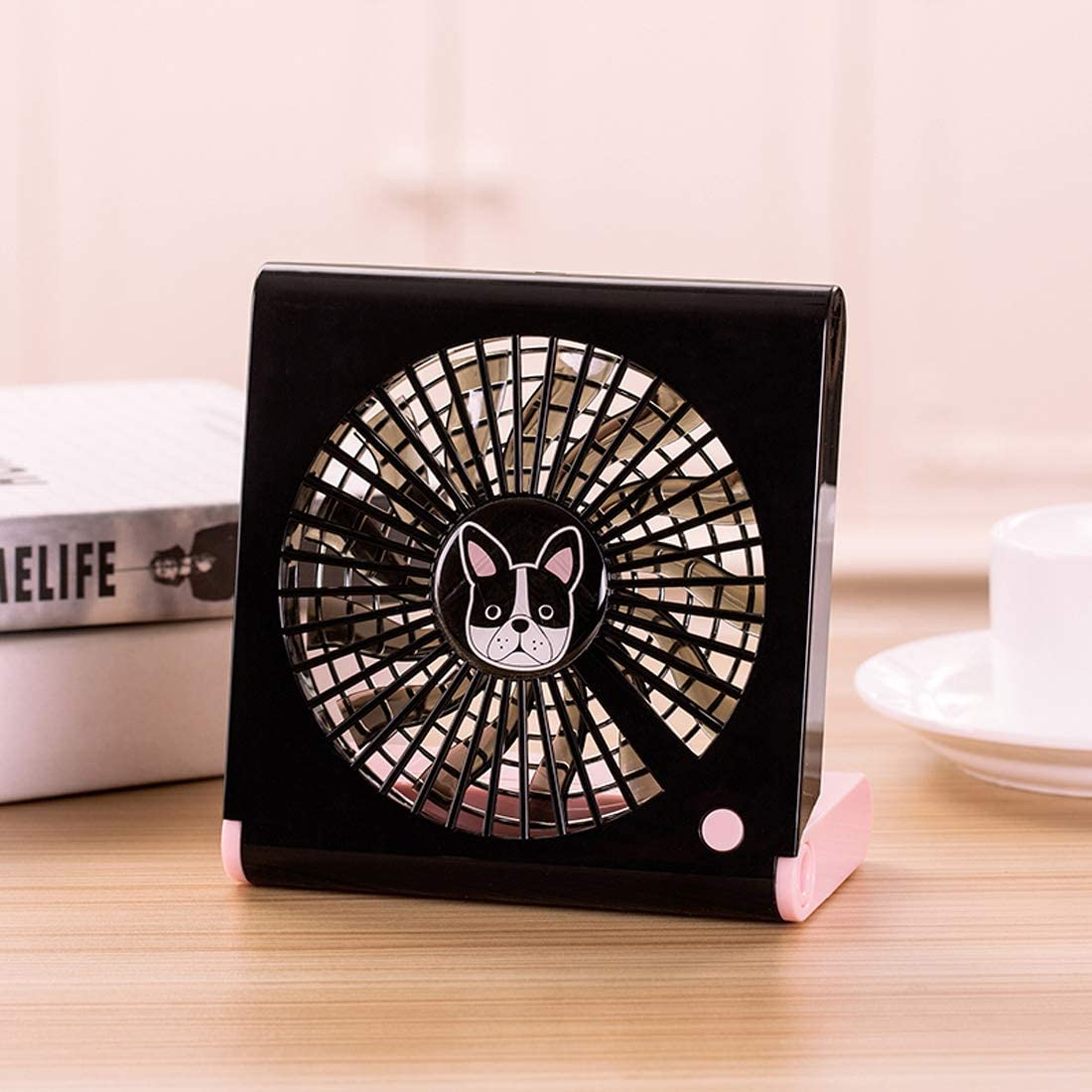 Black Tangyongjiao Home Cooling Supplies Bulldog Pattern Mini Notebook Folding USB Fan with Wind 3 Speeds Color : Pink