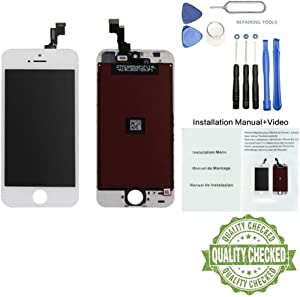 ORIWHIZ Display for iPhone 5S SE LCD 4.3 inch Touch Screen Replacement Digitizer Display Assembly Includes Free Tools Kit Installation Manual+Video(5S/SE-White(4.3 inches))