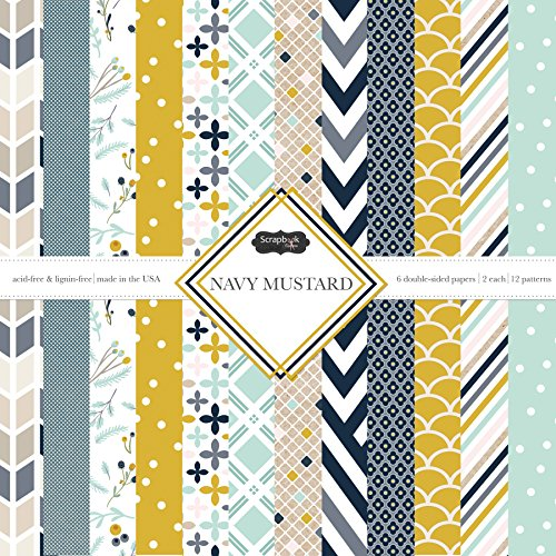 Scrapbook Customs Themed Paper Scrapbook Kit, Navy Mustard -