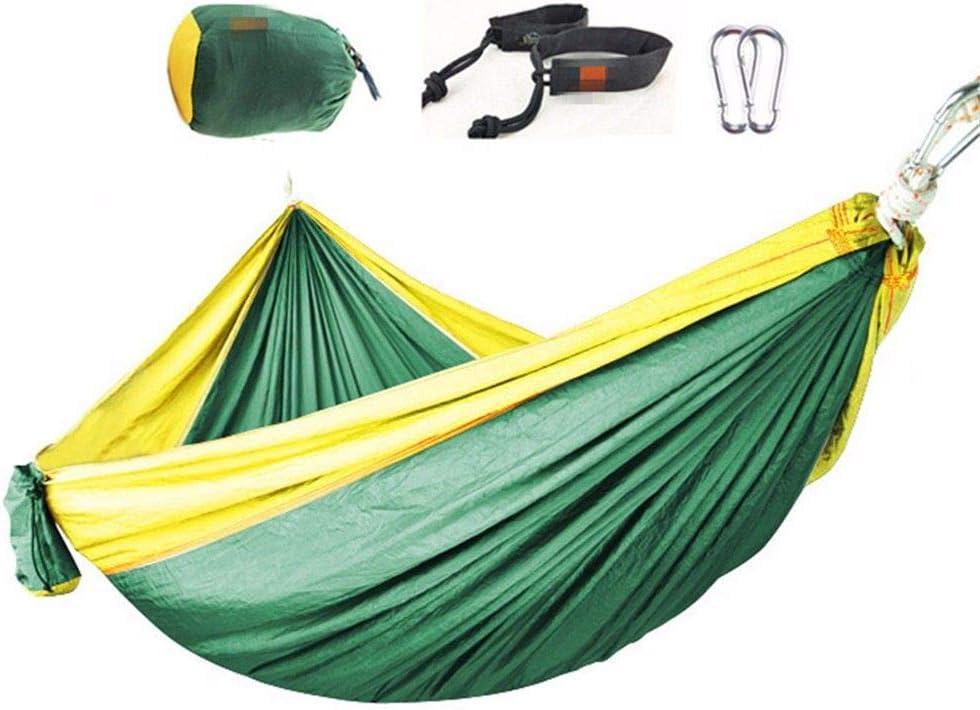 ANGEELEE-hammock Aire Libre Ultra Ligera Nylon Transpirable Hamaca de Camping Viaje para Camping jardín Aumente el Equipo de Acampar Fuera del Sitio Ultraligero al Aire Libre, Amarillo Verdoso