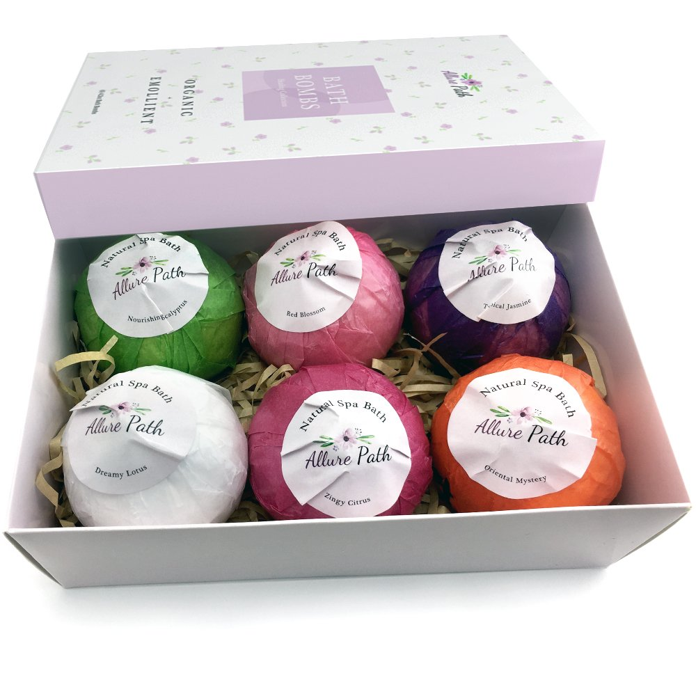Bath Bombs - Pack of 6 | Natural Essential Oil | 100% Organic Ingredients | Perfect Gift Set | Lush Spa Floating Fizzies Rich and Colorful Bubbles | Ideal for Relaxing | Safe | Gift Idea | Allure path