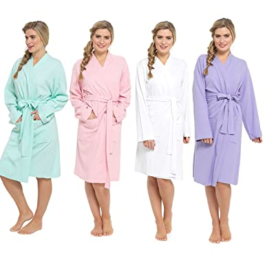 Ladies Womens Plain Colours 100% Cotton Summer Waffle Bath Robe Dressing  Gown (Large 85f6c0288