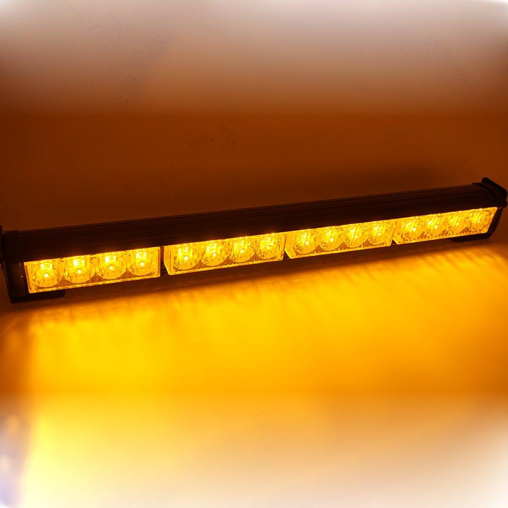 Linchview 7 Modus Auto Einsatzfahrzeug Blitzleuchte 16W 45cm Warnleuchten Strobe Bar Autolampe LED (Gelb)