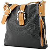 Ital. Leather Case Shoulder Bag Girl Messenger Shoulder Bag Citybag T04, Color:Black / Camel