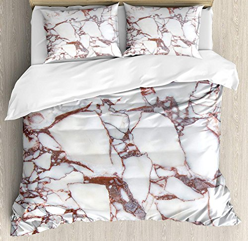 Marble 4 Piece Bedding Set Twin Size, Dolomite Rocks Pattern with Characteristic Swirls and Cracked Lines Abstract Art, Duvet Cover Set Quilt Bedspread for Childrens/Kids/Teens/Adults, Beige Brown ()