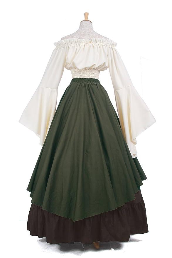 Mujeres Renacimiento Medieval Victoriana Reina Traje De Hombro Partido Vestido Top y Falda: Amazon.es: Ropa y accesorios