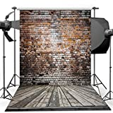 Vinyl Photography Backdrop, 5x7 ft Dudaacvt Antique Brick Wall & Wood Floor Hanging Fabric For Studio Props Photo Background MQ0010507