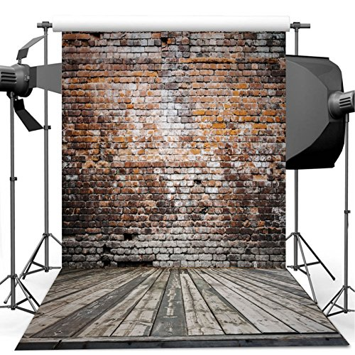 Dudaacvt Vintage Brick Wall Photo Backdrops 5x7 ft Vinyl Wood Floor Photography Background for Wedding Smash Cake Birthday Party Portraits Photo Booth Backdrop -