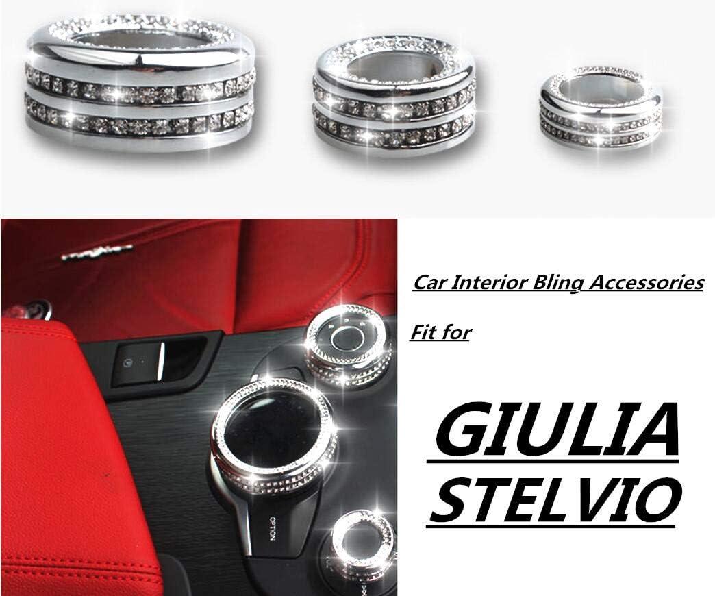 YUWATON Car Interior Trim Bling Rhinestone Decals Accessories Multimedia Knob Cover for Alpha Alfa Romeo Giulia Stelvio Bling Accessories 3pcs/Set Silver