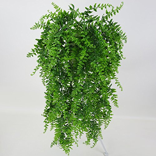 dezirZJjx Artificial Plants Vivid Artificial Green Plant Home Garden Decoration Wall Hanging Fake Vines Gift - Green
