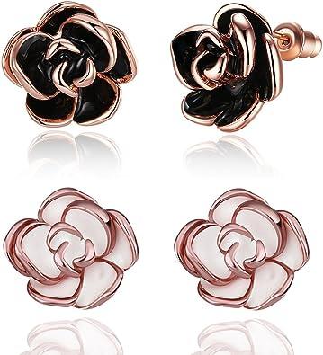 2 pares pack blanco/negro chapado en oro rosa flor Stud Pendientes ...
