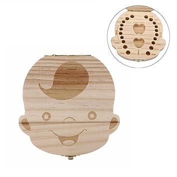Malloom Inglés!! Cajas de dientes Organizador cajas de almacenaje de madera de los dientes de leche del bebé (Chico)
