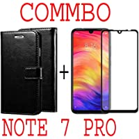 like it grab it Redmi Note 7 / Note7 (Combo Offer) Leather Dairy Flip Case Stand with Magnetic Closure & Card Holder Cover + 6D Curved Tempered Glass Screen Protector (Black Flip)