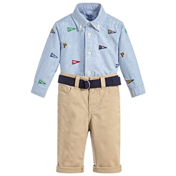 924e24985 Image Unavailable. Image not available for. Color: Ralph Lauren Baby Boys  Oxford Shirt & Chino Pants Set, Khaki Stone (12 Months