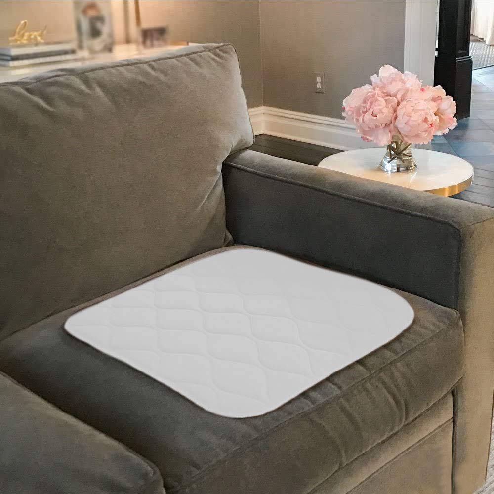 GORILLA GRIP Reusable Leak Proof Furniture and Chair Pad for Incontinence, 21x21, Oeko Tex Certified, Hospital Grade, Washable, Absorbent Incontinent Soft Pads for Chairs, Beds, Elderly, 4 Pack, White