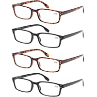 45d45fc31c7 READING GLASSES 4 Pack Spring Hinge Comfort Readers Plastic Includes Sun  Readers