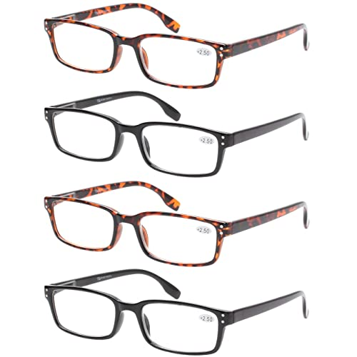 5b1244dcb792 READING GLASSES 4 Pack Spring Hinge Comfort Readers Plastic Includes Sun  Readers (2 Black 2