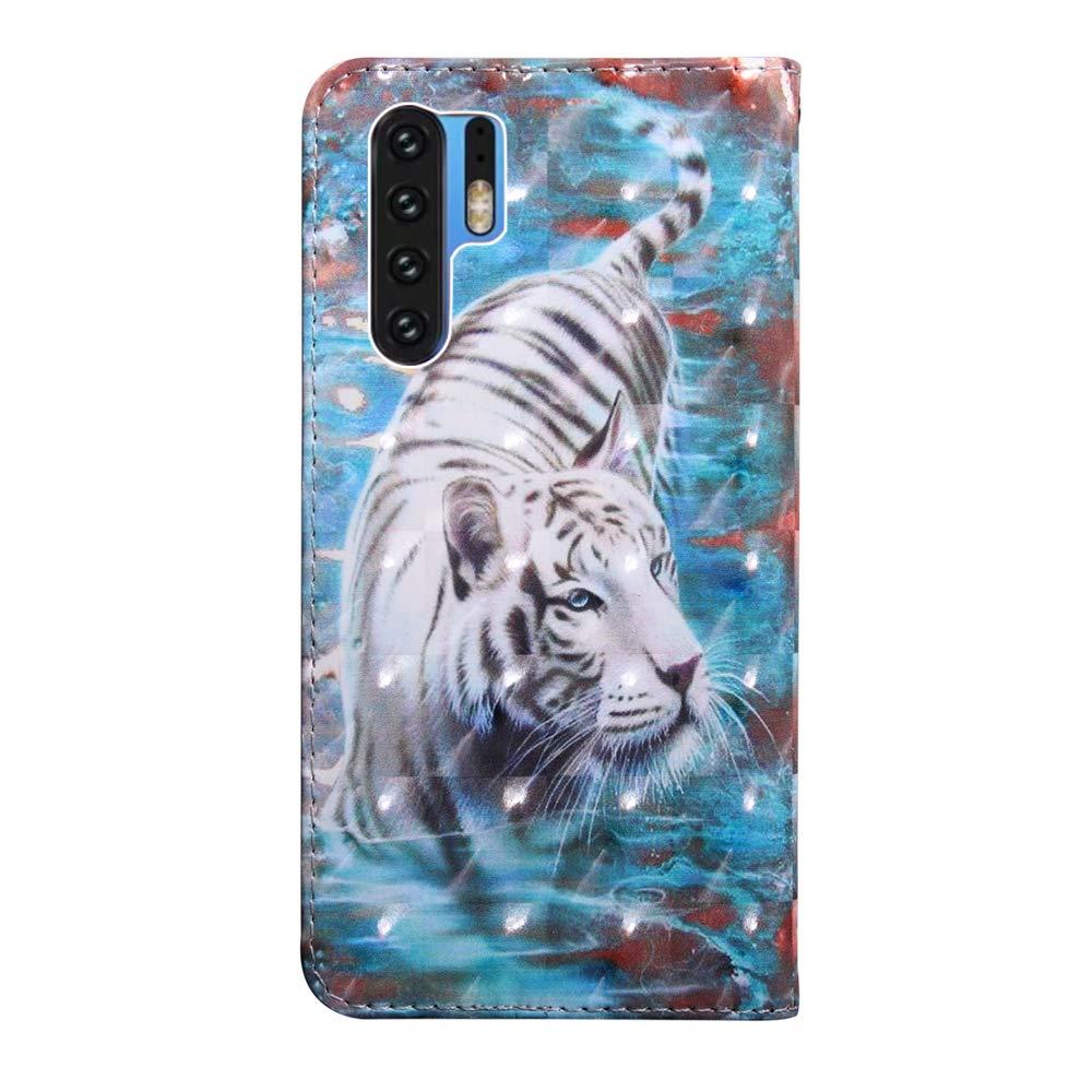 COTDINFOR Huawei P30 Pro Funda Protectora Lino Cuero PU Billetera Caso Flip Shell Cierre Magn/ético Card Holder Carcasa para Huawei P30 Pro Cloth Drak Blue YX.