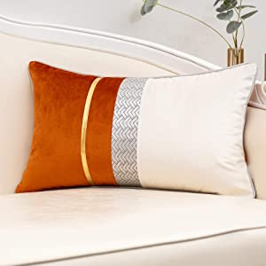 """Yangest Burnt Orange Patchwork Velvet Lumbar Pillow Cover with Gold Striped Leather Cushion Case Modern Luxury Pillowcase for Sofa Couch Bedroom Living Room Home Decor,12""""x20"""""""