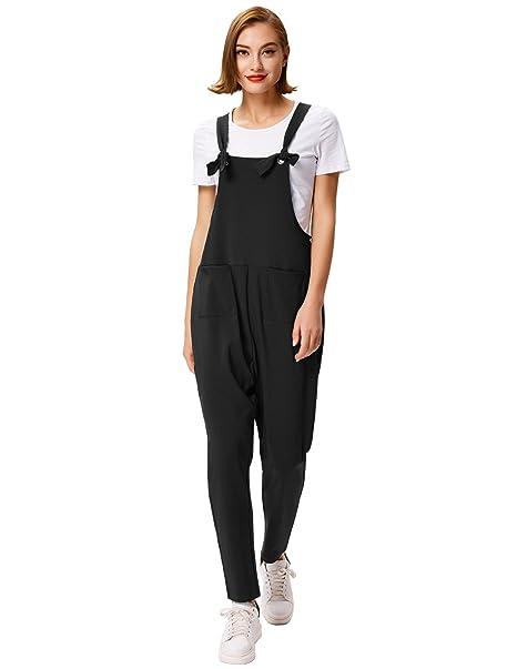 730723d844 GRACE KARIN Women s Fashion Casual Overalls Baggy Stretchy Jumpsuit Romper  Bib Pants - Black -  Amazon.co.uk  Clothing