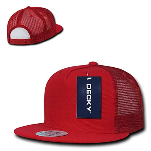 b8d91728 Red Solid Blank Plain Mesh Curved Bill Snapback 5 Panel Trucker Baseball  Ball Cap Hat at Amazon Men's Clothing store: