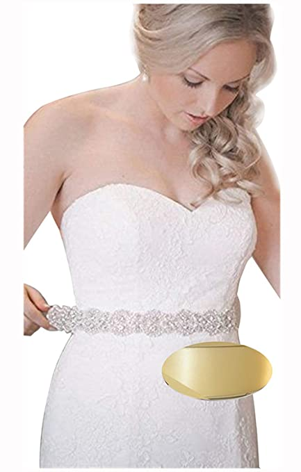 a3e6406407888 Amazon.com: QueenDream Silver Crystal Beaded Ivory Satin Bridal Sash Wedding  Belt for Bride: Arts, Crafts & Sewing