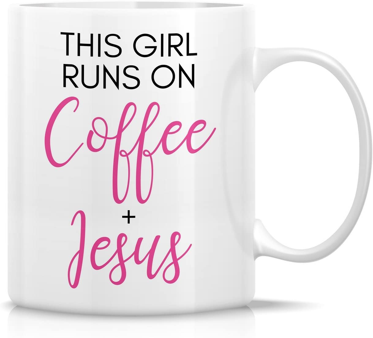 Retreez Funny Mug - This Girl Runs on Coffee + Jesus 11 Oz Ceramic Coffee Mugs - Funny, Sarcasm, Sarcastic, Motivational, Inspirational birthday gifts for wife, girlfriend, bff, friends, coworkers
