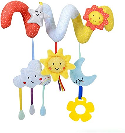 Lalang Baby Kids Spiral Activity Hanging Toys Stroller Toy Car Seat Bed Hanging Toys (star and moon)