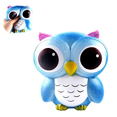 1PC Jumbo Blandos de los Ojos Grandes Owl Blando Juguete Lento Aumento de Juguete del Alivio de tensión de Juguetes Accesorios Decorativos muñeca del Regalo para los niños (Azul): Productos para mascotas