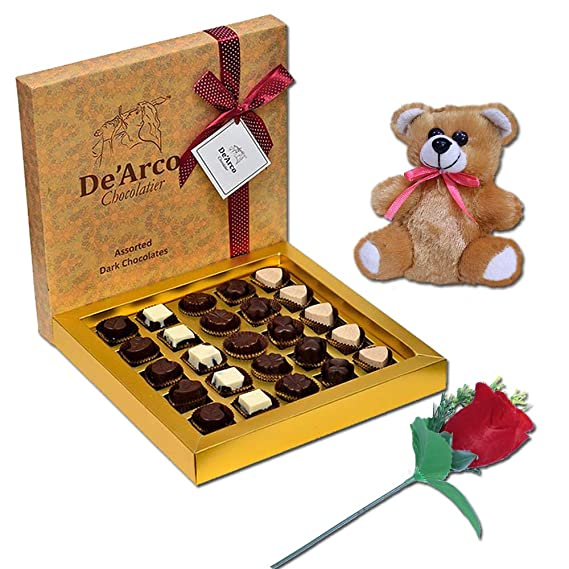 De Arco Chocolatier Chocolates Valentine Day Gift For Girlfriend Boyfriend Husband Wife Premium Luxury Chocolates 25pcs Free Rose Teddy Amazon In Grocery Gourmet Foods