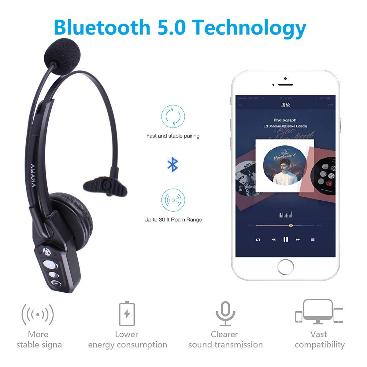 7dc60815a20 Arama JBT800 Bluetooth Headset with Microphone, Office Wireless Headset  with Bluetooth 5.0, Over The Head Earpiece for Cell Phone, Skype, Truck  Driver, ...