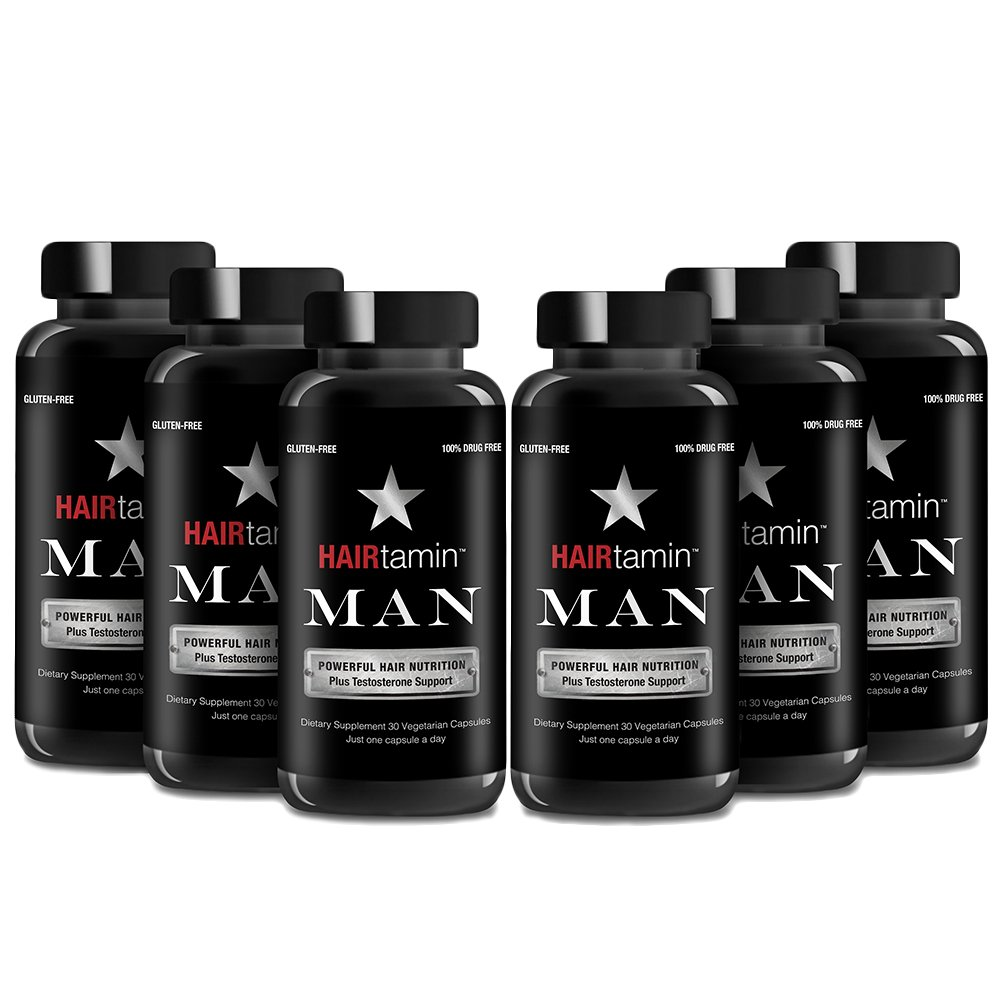 HAIRtamin Man Hair Growth Vitamins - Best Mens Biotin Fast Hair Growth Formula Vitamin Supplement for Thicker Fuller Healthier Hair and Beard Natural Daily Multi Vitamins (6 MONTH - 180 CAPSULES)